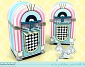retro jukebox - favor box holds candy, gift cards and treats party printable PDF kit - INSTANT download