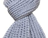 Hand Knit Scarf - Silver Grey Kitten Cashmere Wind River Rib