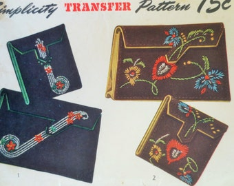 Vintage Simplicity 7355 Sewing Pattern,  1940s Clutch Purse Pattern, 1940s Wallet Pattern,Cosmetic Case Pattern,  Embroidery Transfer
