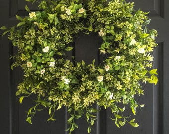 Boxwood Wreath with White Tea Leaf Flowers | Display Wreath Year Round Indoors & Outdoors | Summer Wreath | Front Door Wreaths