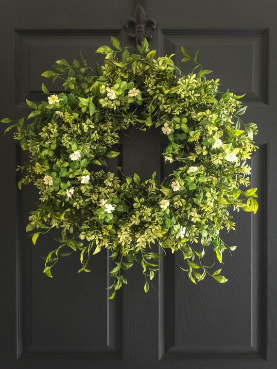 Boxwood Wreath with White Tea Leaf Flowers Spring Wreaths