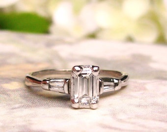 Vintage Emerald Cut Diamond Engagement Ring 0.50ctw Diamond Engagement Ring 14K White Gold Baguette Diamond Wedding Ring Size 6