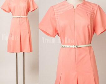 Mod dress, Vintage Dress, Vintage 60s Dress, Vintage peach dress, vintage coral dress, Mod 60s Dress, Pleated dress, 60s Knit dress - M/L