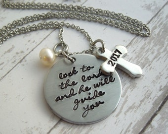 Personalized necklace, look to the lord, graduation gift hand stamped aluminum necklace