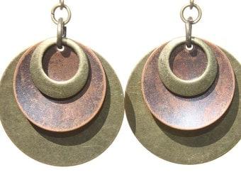 Boho Earrings Mixed Metal Earrings Copper Earrings Brass Earrings Dangle Bohemian Earrings Jewelry Gift For Her Gift Ideas