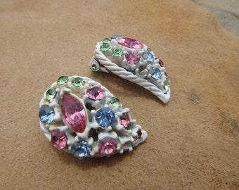 Stunning Vintage CLIP ON Vintage Earrings Mutli Color Stunning Statement piece earrings RHINESTONES Pink Green Blue Earrings