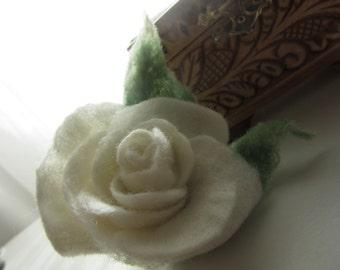 White  rose  brooch,  flower, Felted rose brooch,  Rose, accessories, unique accessories,Eco-Felt Flower, felt  boho,