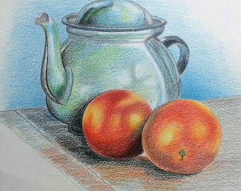 Teapot and Fruit Drawing Still Life Drawing Original Colored Pencil Art