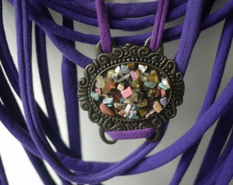 Upcycled t-shirt scarf: Purple with interesting pendant [063]