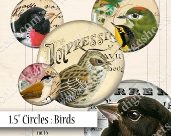"Birds 1.5"" Circles Vintage Digital Collage Sheet Instant Download Mixed Media Junk Jewelry Cabochon Bezel Pendant Images dcs16"