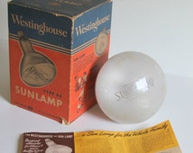"Westinghouse Sun Lamp Kit Works in Box Large Bulb Unique Display Item ""A Sun Lamp For The Whole Family"" Vintage Light Bulb Collectible"