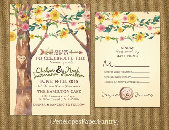 Summer Wedding Invitations: Items Similar To Rustic Ivory Wildflower Theme Summer