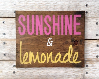 Sunshine and Lemonade sign hand painted on reclaimed wood