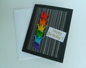 "Handmade Paper Crane Chain ""Rebirthday"" Card (Origami Cranes in Rainbow Colours)"