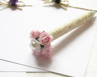 Set of 2 / 4 Wedding Guest Book Pens, Burlap Pen, Pink Paper Flower, Rustic Wedding Pen, Cottage Chic Decor, Wedding Decor, Rustic Flower