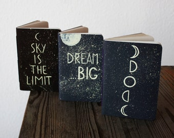 3 pack of notebooks/ pocket star notebook/ moon phases journals/ Midori traveler's notebook refills/ inspirational quotes / stars / galaxy
