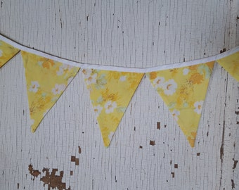 flag bunting, garland, vintage linen, photo prop