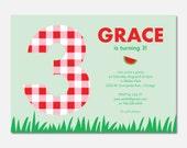 Printable picnic birthday party invitation