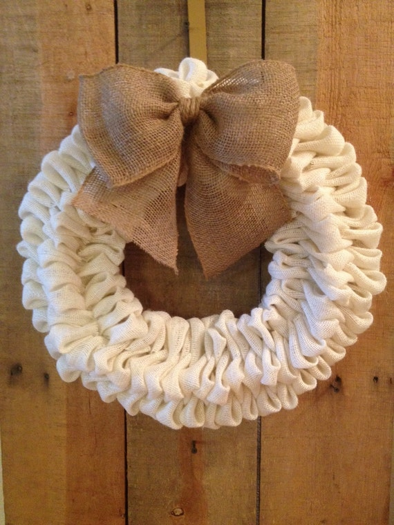 Items similar to white burlap bubble wreath burlap wreath for How to sell crafts on etsy