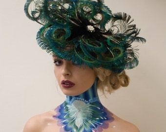 Bespoke Simply Stunning Peacock Fascinator Headpiece - Wedding & Races Ascot, Kentucky, Dubai, Melbourne Cup