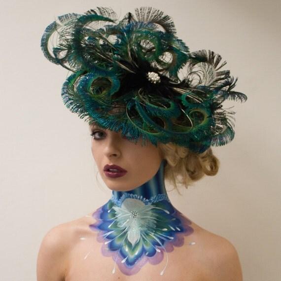 Peacock Headpiece For Wedding: Bespoke Simply Stunning Peacock Fascinator Headpiece Wedding