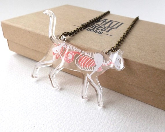 Skeleton X-Ray Cat Necklace