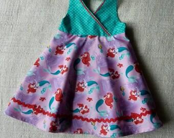 Little Mermaid Ariel print girls halter dress size 3t ready to ship