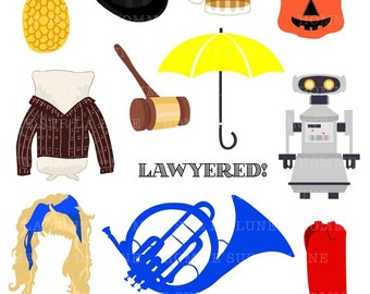 How I met your mother, himym clipart, himym show, french horn clip-art, marshpillow, barney stinson, robin sparkles, umbrella, tv clipart
