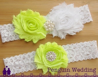 Bridal Garter, Lime Green Wedding Garter Set, Toss Garter with Rhinestones and Pearls, Keepsake Garter, Lace Garter Belt PG067