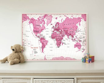 Kids Map Of The World Art Print - Pink