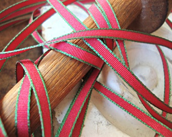 5 Yards Narrow Red Ribbon with Green Stripe Edges