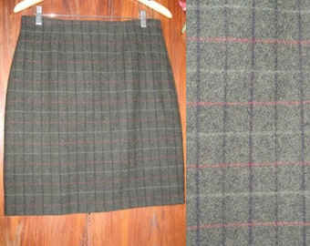 Vintage WOOLRICH Green Plaid Pencil Skirt, Women's Size 8