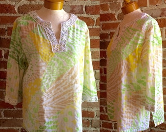 Women's Vintage Cotton Eyelet Daisy Pastel Tunic With Crochet Detailing