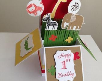 Handmade Happy Birthday Card in a box, Noah's ark themed card, Baby Zoo  Animals card