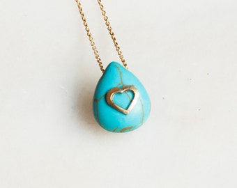 Heart Necklace, Love Necklace, Turquoise Necklace