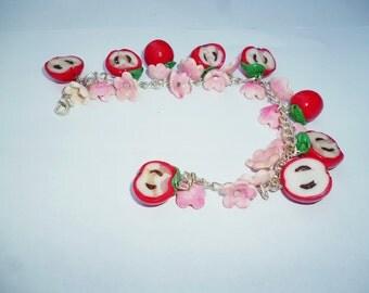 "Bracelet polymer clay ""Paradise apples"""