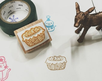 cookies basket hand carved rubber stamp.cookies stamp.picnic stamp.picnic.