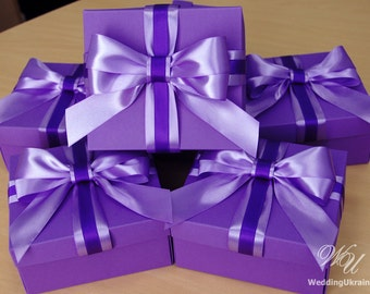 Elegant gift box with Satin ribbon and big doubled bow - Lavender and Purple wedding favor boxes