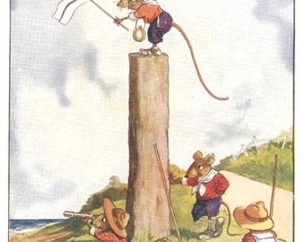 Nostalgic Vintage Nursery Print Mouse Scouts
