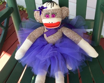 Sock Monkey Ballerina, Sock Monkey, Handmade Toys, Sock Monkey Doll, Sock Monkey Gifts
