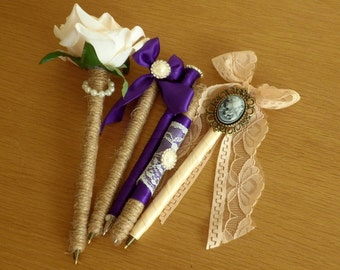 Guest book pen favour gift