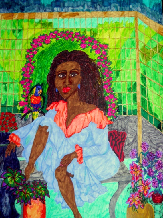 """Original Painting, ENGRACIA, 18X24"""" Artist Stacey Torres, Beautiful Black Woman w/parrot in her abstract garden sunroom"""