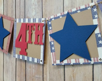 Happy 4th of July Banner, Fourth of July Sign, July 4th Party Banner, Happy 4th of July Party Banner, Independence Day Party Decor