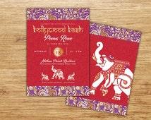 Indian Bollywood Invitation, Bollywood Gold, Middle Eastern Invitation, Bollywood Party, Moroccan, Elephant Invitation, Bollywood Shower