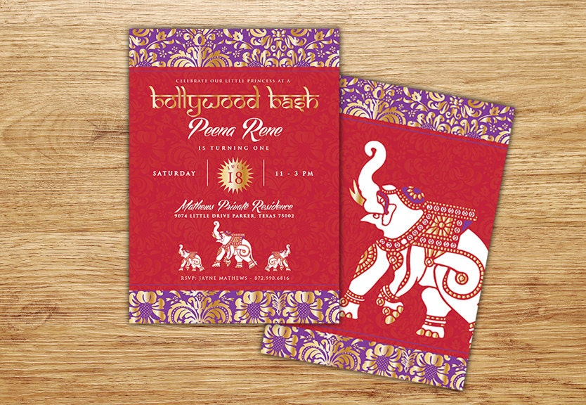 Indian Bollywood Invitation Bollywood Gold Middle Eastern – Moroccan Party Invitations