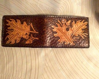 Leather wallet, leather billfold, hand tooled billfold, billfold with oak leafs and acorns, hand carved, nature wallet, father day billfold