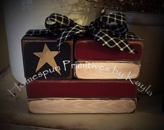 Primitive Wooden Americana Flag Blocks