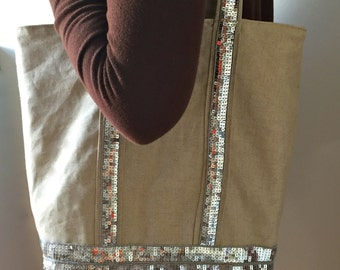 The tote bag in the way of Vanessa Bruno -  Line /Cotton raw - Silver sequins - Lining in speckled raw cotton - Home made