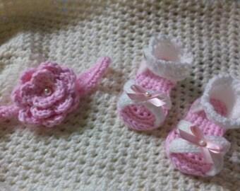 crochet sandals and headband