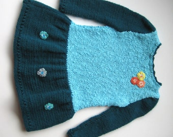 Handmade Knitted Baby Girl Dress with Sleeves